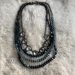 Premier Designs blue/charcoal/crystal necklace
